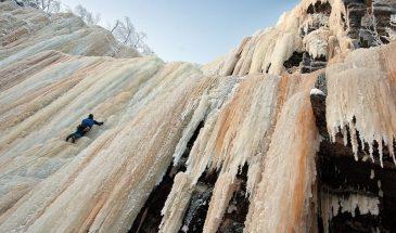 Ice climbing in Korouoma canyon posio