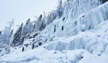 Ice climbing koruoma canyon Posio