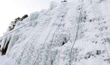 Rappeling Down the Ice Wall in Pyhä-Luosto