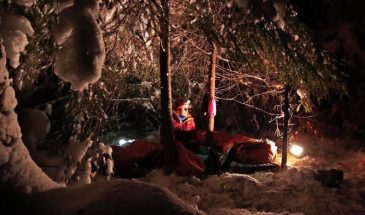 Sleepover in the wild winter lapland