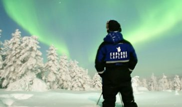Aurora hunting tour by Explore Lapland Rovaniemi and enjoying the northern lights in the dancing arctic sky