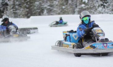 Ice karting in ruka kuusamo lapland in winter and snowy weather