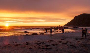 Midnight Sun Safari from Svolvær lofoten norway summer night in the people are enjoying in the beach