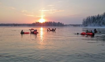 River floating - once in a lifetime arctic adventure kuusamo Lapland under the bright sky and river