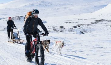 arctic e fatbike challenge in Halti mountain lapland snowy winter mountain huts