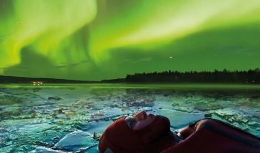 Aurora ice floating Rovaniemi Safartica Visit Lapland Northern Lights