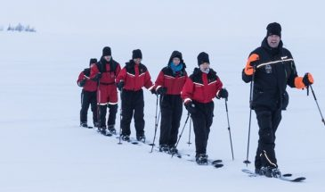 Cross country skiing course on the Baltic Sea Kemi Lapland Winter Finland