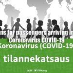 Instructions for passengers arriving in Finland – Coronavirus COVID-19