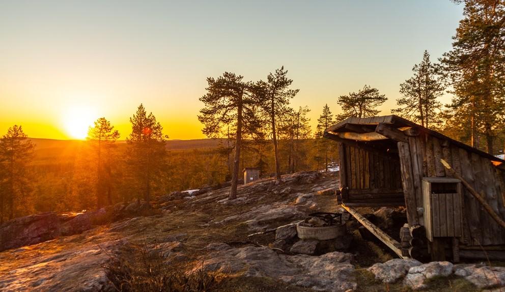 Summer midnight in Rovaniemi Kuninkaan laavu- Arctic circle in Finnish Lapland by Saija Halminen