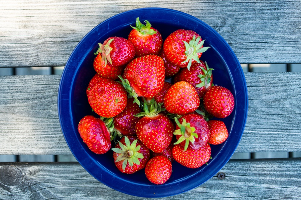 Fresh strawberries in the summer