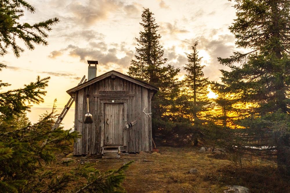 Wilderness hut in Lapland at summer time