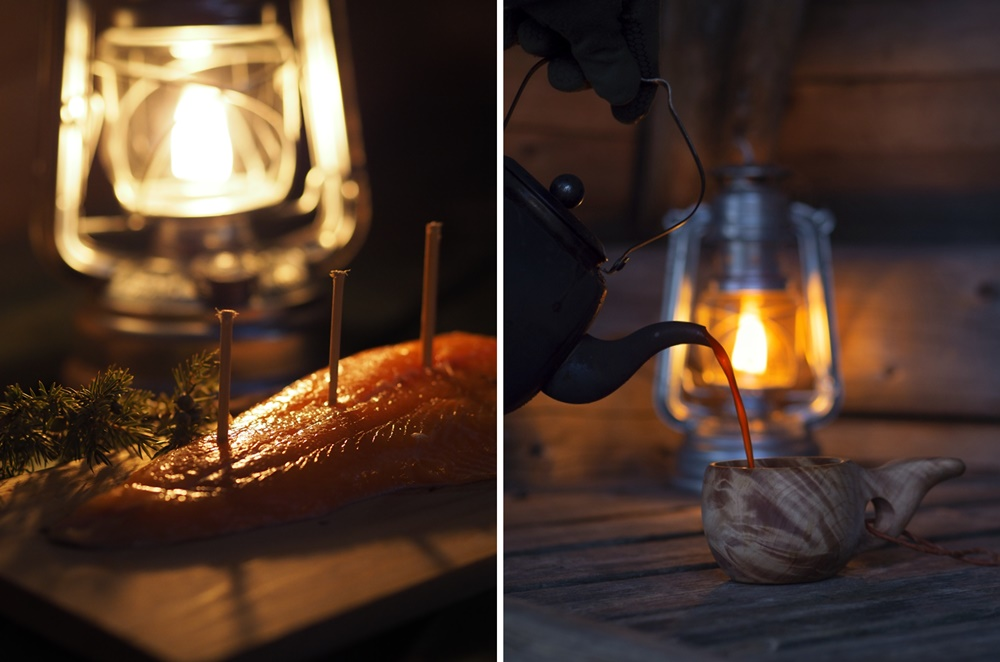 Smoked salmon and campfire coffee in Lapland