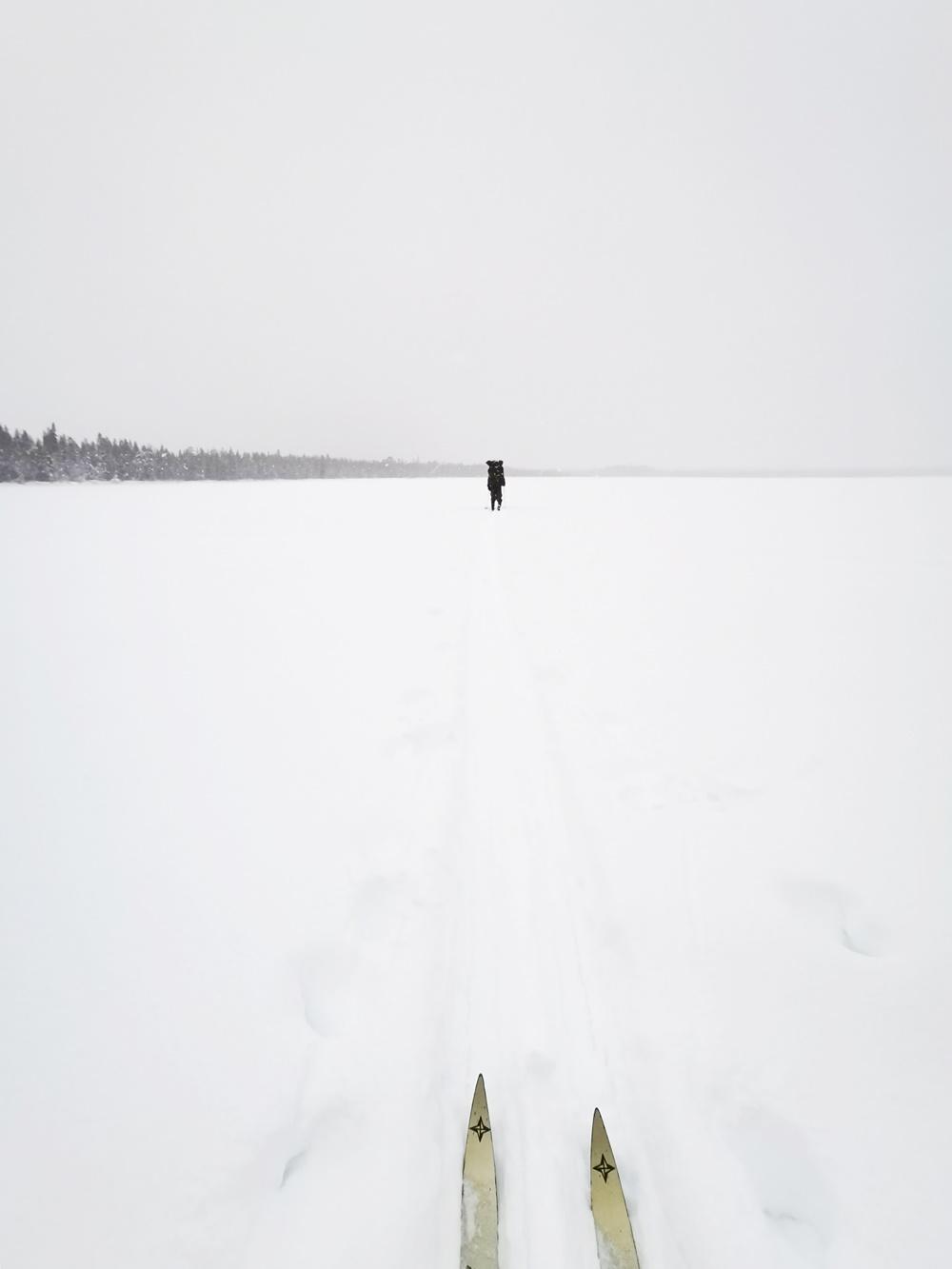 Skiing in snowstorm in Lapland