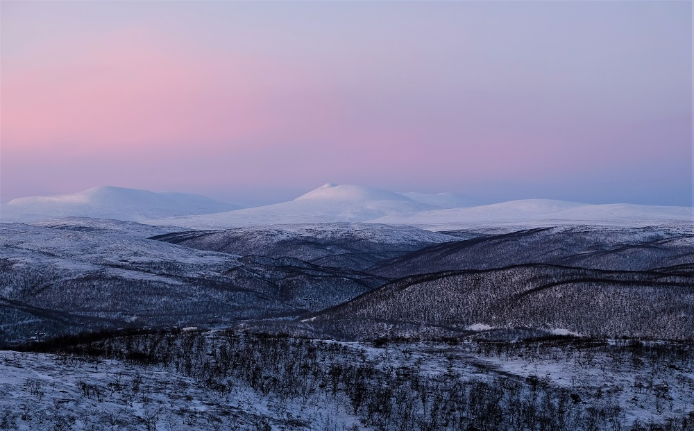 Polar night view in Utsjoki Finnish Lapland